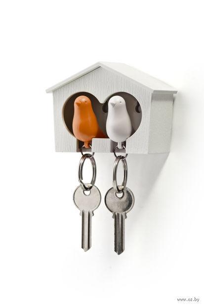 """Брелок-свисток и держатель двойной для ключей """"Sparrow"""" (белый/оранж)"""