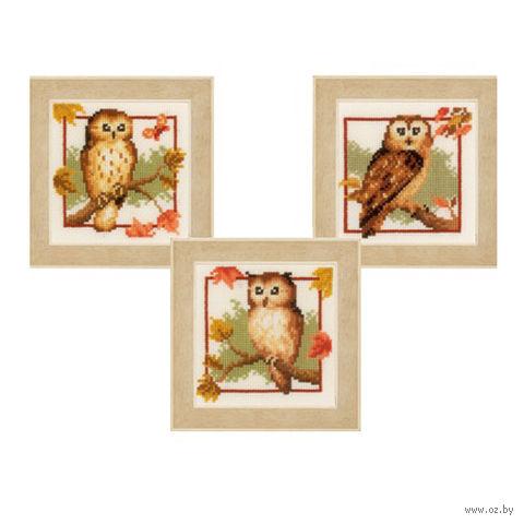 """Вышивка крестом """"Осенние совы"""" (80x80 мм; 3 шт.) — фото, картинка"""