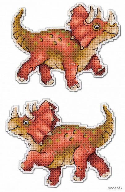 """Вышивка крестом """"Динозавры. Трицератопс"""" (90х120 мм) — фото, картинка"""
