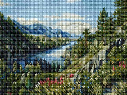 "Алмазная вышивка-мозаика ""Река Катунь"" (300х400 мм) — фото, картинка"