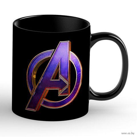 """Кружка """"Мстители. Лого"""" (чёрная; арт. 3427) — фото, картинка"""