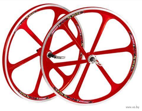 """Комплект велосипедных колёс """"TAFD/DISK-6000"""" (красный) — фото, картинка"""