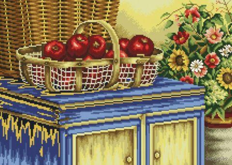 "Вышивка крестом ""Корзинка с яблоками"" (285х410 мм) — фото, картинка"
