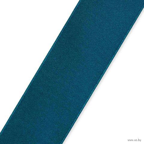 Лента атласная 50 (25 мм; 25 м; темно-бирюзовый) — фото, картинка