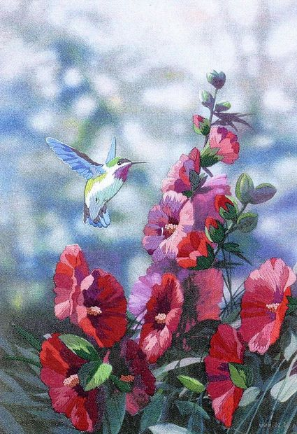 """Вышивка гладью """"Колибри в цветах"""" (арт. DMS-11127)"""