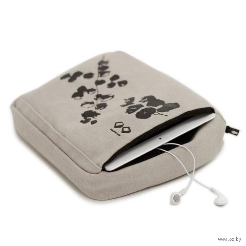 Подушка-подставка с карманом для планшета (кремовая, черная)