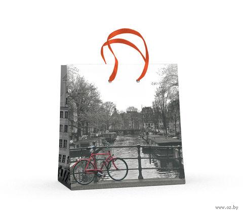 """Пакет бумажный подарочный """"Город и цвет"""" (16,5x16,5x9,2 см) — фото, картинка"""
