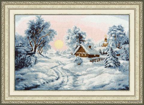 """Вышивка крестом """"Зимнее утро"""" (258х381 мм) — фото, картинка"""