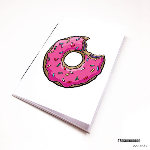 """Блокнот белый """"Пончик. Симпсоны"""" А7 (001)"""
