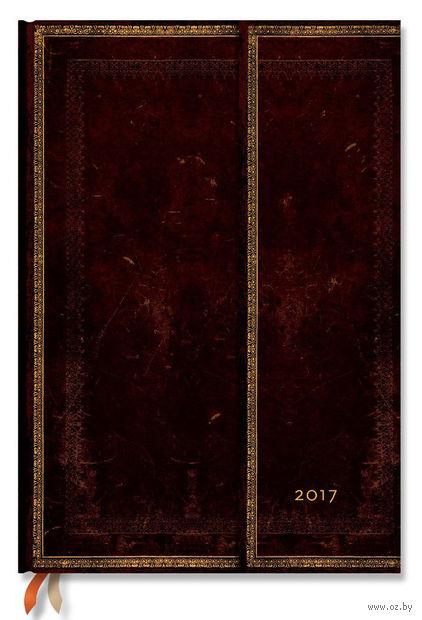 """Еженедельник Paperblanks """"Черная Марокканская кожа"""" на 2017 год (формат: 210х300 мм, гранде)"""