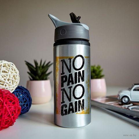 """Бутылка для воды """"Нет боли - нет успеха"""" (600 мл; металлик) — фото, картинка"""