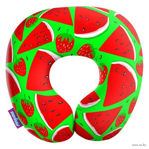 """Подушка под шею """"Сочный арбуз. Большой"""" (29х29 см; зелёная) — фото, картинка"""