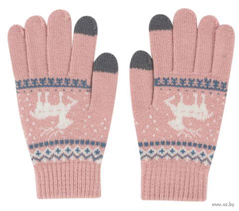 """Перчатки сенсорные """"Олени"""" (розовые) — фото, картинка"""