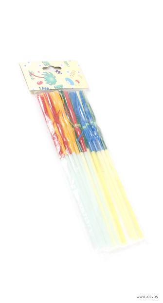 Набор соломок для питья пластмассовых с украшениями (12 шт.; арт. GL304B)