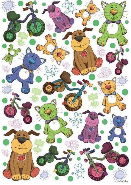 """Бумага для декупажа рисовая """"Детские игрушки. Коты и собачки"""" (210х300 мм)"""