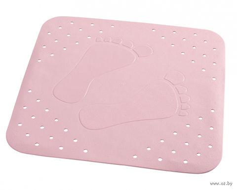 """Коврик для ванной резиновый """"Следы"""" (54х54 см; розовый) — фото, картинка"""