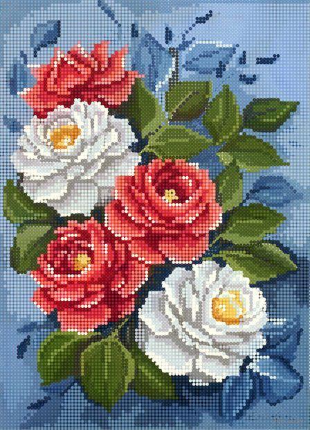 """Алмазная вышивка-мозаика """"Красные и белые розы"""" (360х260 мм) — фото, картинка"""