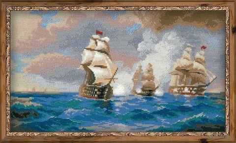"""Вышивка крестом """"Айвазовский. Бриг Меркурий, атакованный двумя турецкими кораблями"""" (арт. 1154)"""