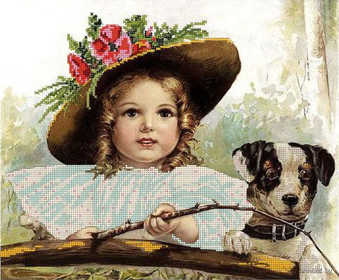 """Канва с нанесенным рисунком """"Девочка на рыбалке"""""""