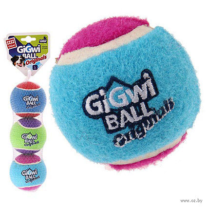 """Игрушка для собак """"Теннисный мяч"""" (3 шт.; 8 см) — фото, картинка"""