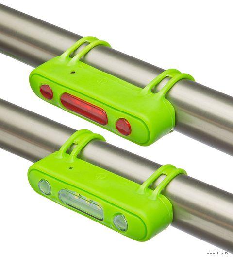 """Комплект фонарей для велосипеда """"JY-7013"""" (зелёный) — фото, картинка"""