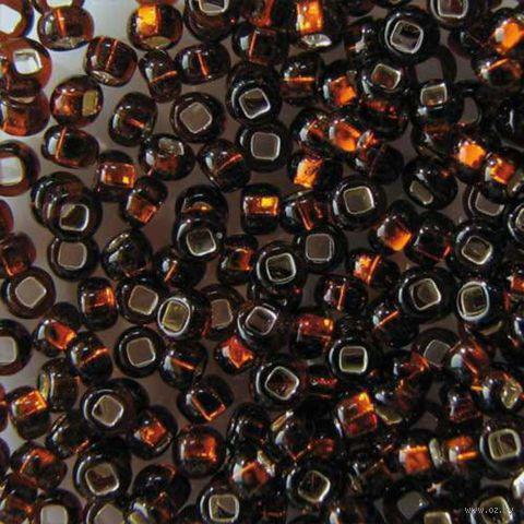 Бисер прозрачный с серебристым центром №17140 (темно-коричневый; 10/0)
