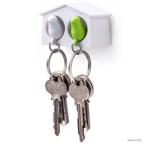"""Брелок-свисток и держатель двойной для ключей """"Mini Sparrow"""" (белый/зеленый)"""