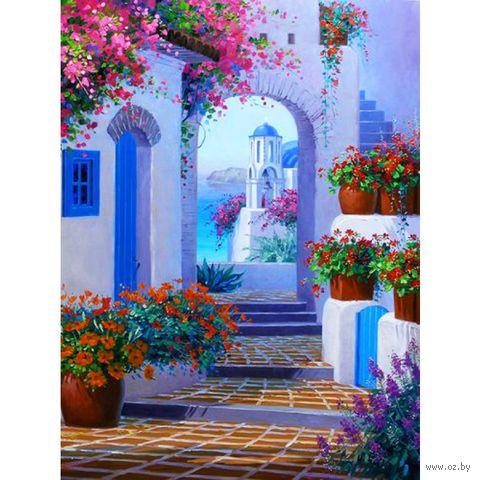 "Алмазная вышивка-мозаика ""Улочка в Греции"" (300x400 мм) — фото, картинка"