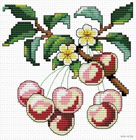 """Вышивка крестом """"Спелая вишня"""" (110x110 мм) — фото, картинка"""