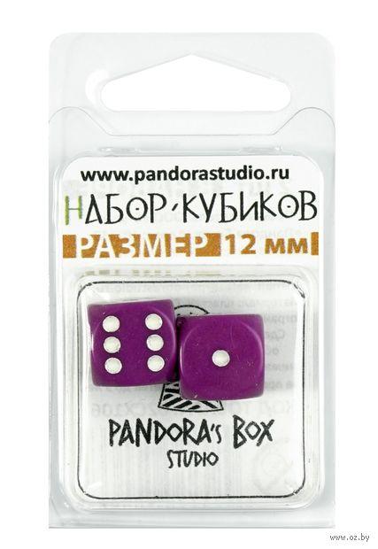 """Набор кубиков D6 """"Опак"""" (12 мм; 2 шт.; фиолетовый) — фото, картинка"""
