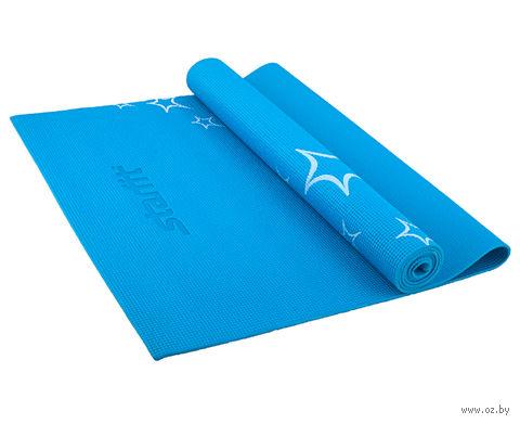 Коврик для йоги FM-102 (173x61x0,3 см; синий с рисунком) — фото, картинка