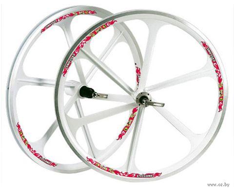 """Комплект колёс велосипедных """"TAFD/DISK-6000"""" (белый) — фото, картинка"""