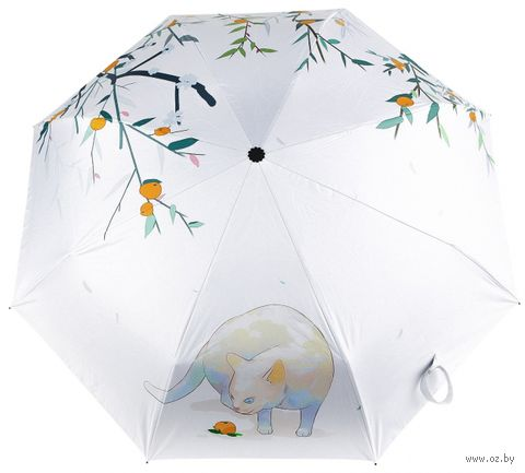 """Зонт складной механический """"Кот с персиком"""" — фото, картинка"""