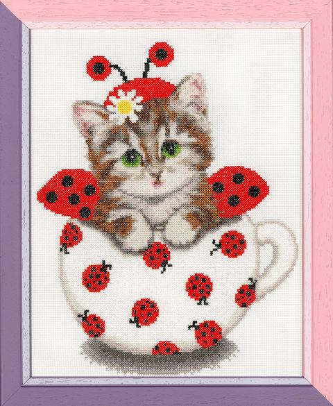 """Вышивка крестом """"Котенок в чашке"""" (275x220 мм) — фото, картинка"""