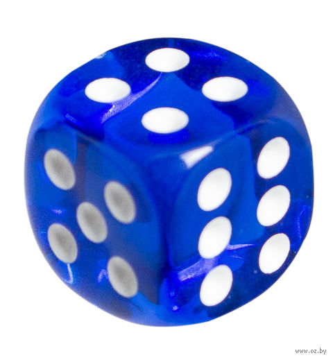 """Кубик D6 """"Прозрачный"""" (12 мм; синий) — фото, картинка"""