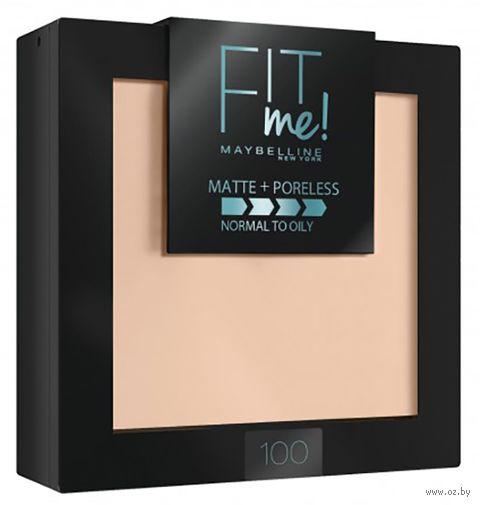 """Компактная пудра для лица """"Fit Me!"""" тон: 100, фарфоровый — фото, картинка"""