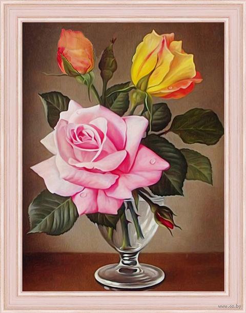 """Алмазная вышивка-мозаика """"Розы в фужере"""" (300х400 мм) — фото, картинка"""
