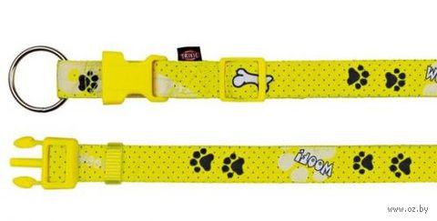 """Ошейник нейлоновый для собак """"Modern Art Collar Woof"""" (размер XXS-XS; 15-25 см; желтый)"""