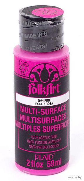 "Краска акриловая ""FolkArt Multi-Surface"" (розовый неон; 59 мл; арт. PLD-02974) — фото, картинка"