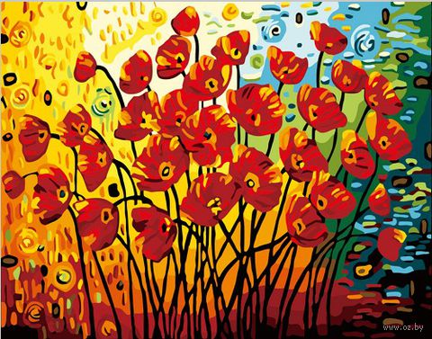 "Картина по номерам ""Маки"" (400х500 мм; цветной холст)"