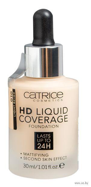 """Тональный крем для лица """"HD Liquid Coverage"""" (тон: 010, light beige) — фото, картинка"""