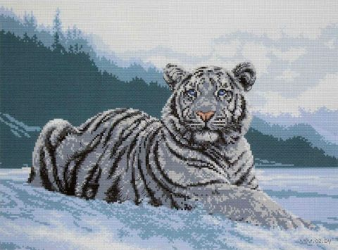 "Вышивка крестом ""Белый тигр"" (300х400 мм) — фото, картинка"