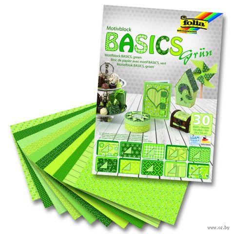 """Набор дизайнерского картона """"Базовый зеленый"""" (240х340 мм; 30 листов)"""