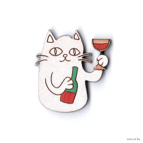 """Значок деревянный """"Котик с вином"""" (белый)"""