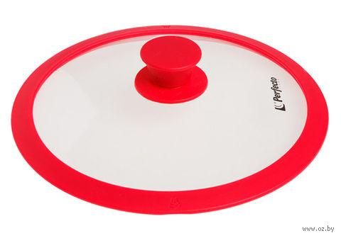 Крышка стеклянная с силиконовым ободом (24 см; красный) — фото, картинка