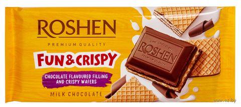 """Шоколад молочный """"Roshen. С шоколадной начинкой и вафлей"""" (105 г) — фото, картинка"""