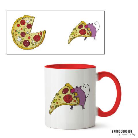 """Кружка """"Пицца"""" (красная) — фото, картинка"""