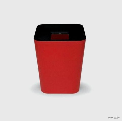 """Ведро для мусора с крышкой """"Hole"""" (черное/красное)"""