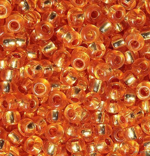 Бисер прозрачный с серебристым центром №08289 (оранжевый; 10/0) — фото, картинка