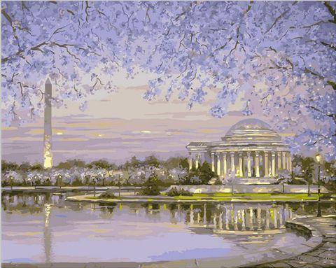 """Картина по номерам """"Лиловый рассвет"""" (400х500 мм; цветной холст)"""